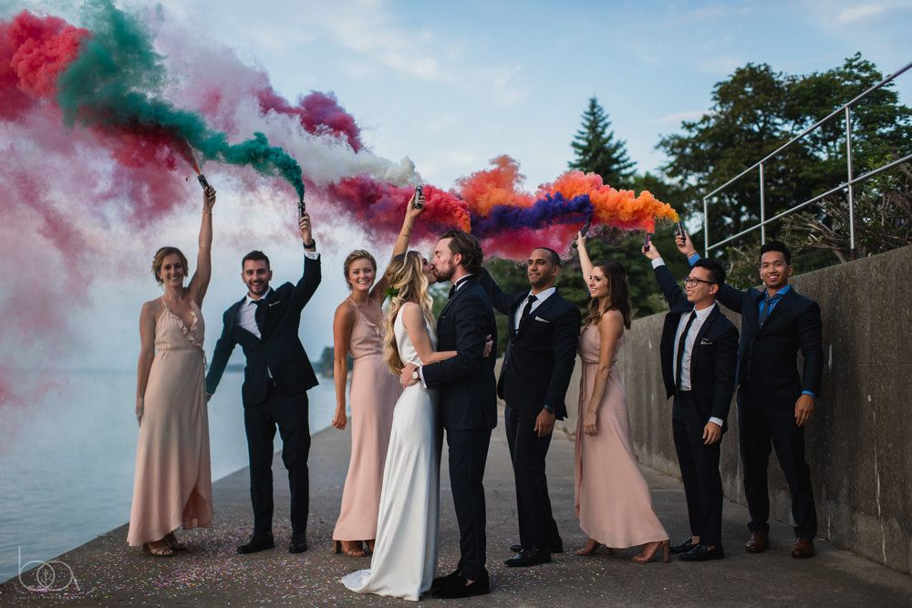 Smoke bombs are the best way to end the night at our NY wedding of Alicia and Bill, #bumbleburgheventsco #weddingplanning #NYwedding #bumbleburgh #livecolorfully #beanartphotograpghy