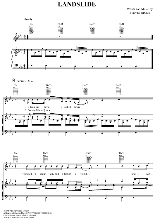 Landslide Sheet Music Seatledavidjoel