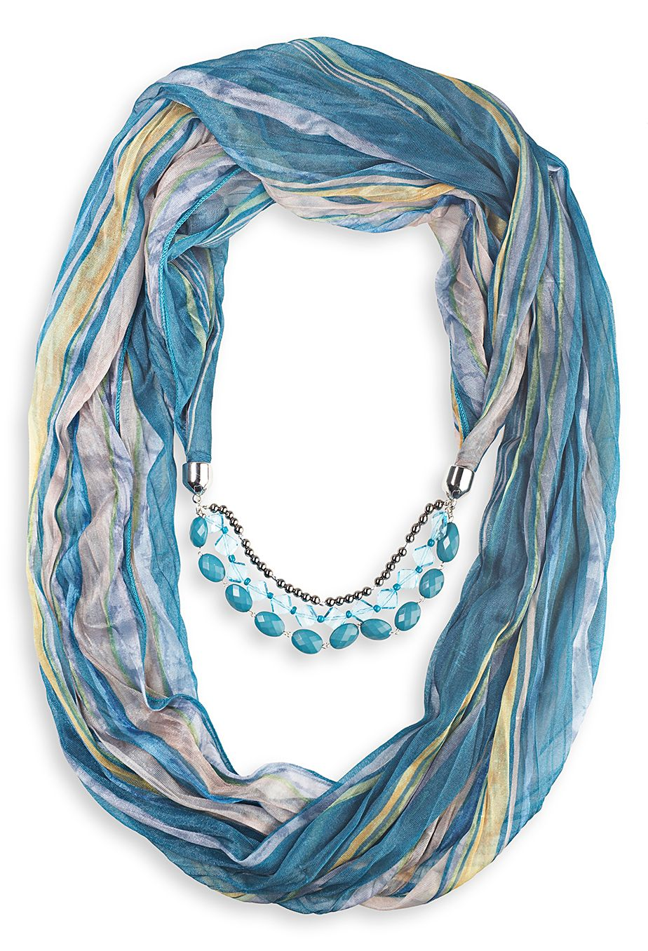 Striped Jewelry Scarf with beads