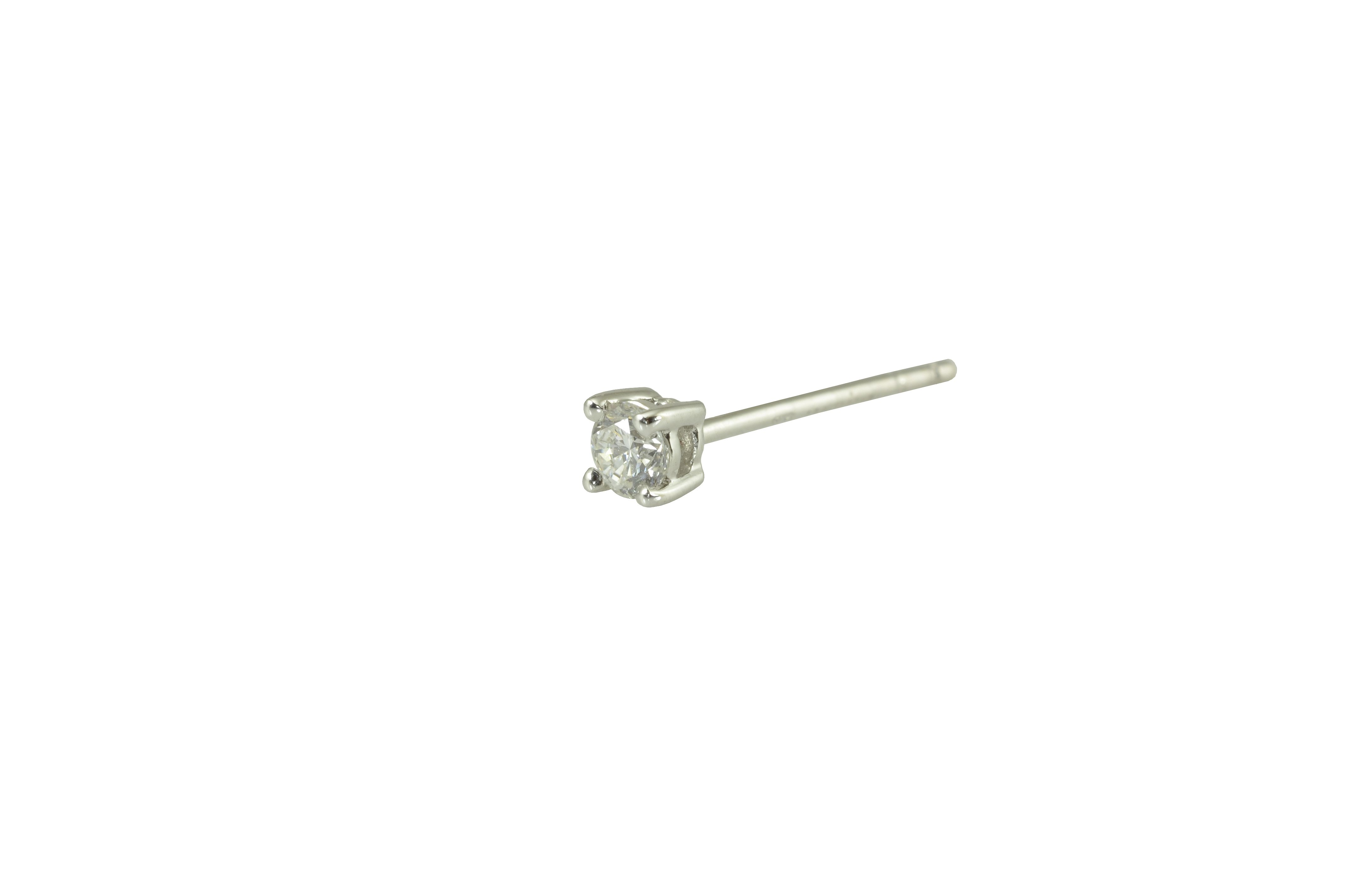 Round brilliant cut diamond stud earrings in 18ct white gold