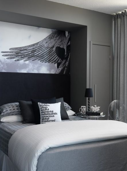 Bedrooms Charcoal Gray Walls Bed Nook Bedding Black Pillows Art Chic Bedroom With