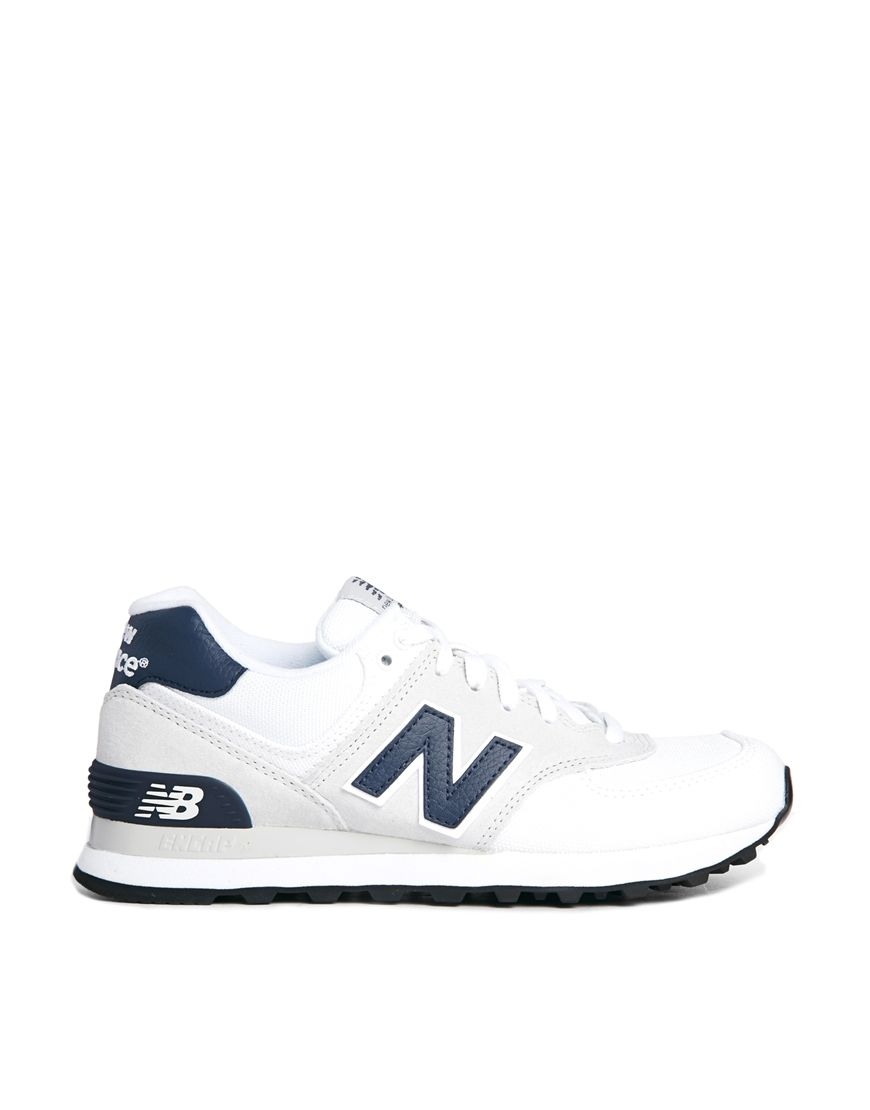 new balance white suede and canvas 574 sneakers shoes