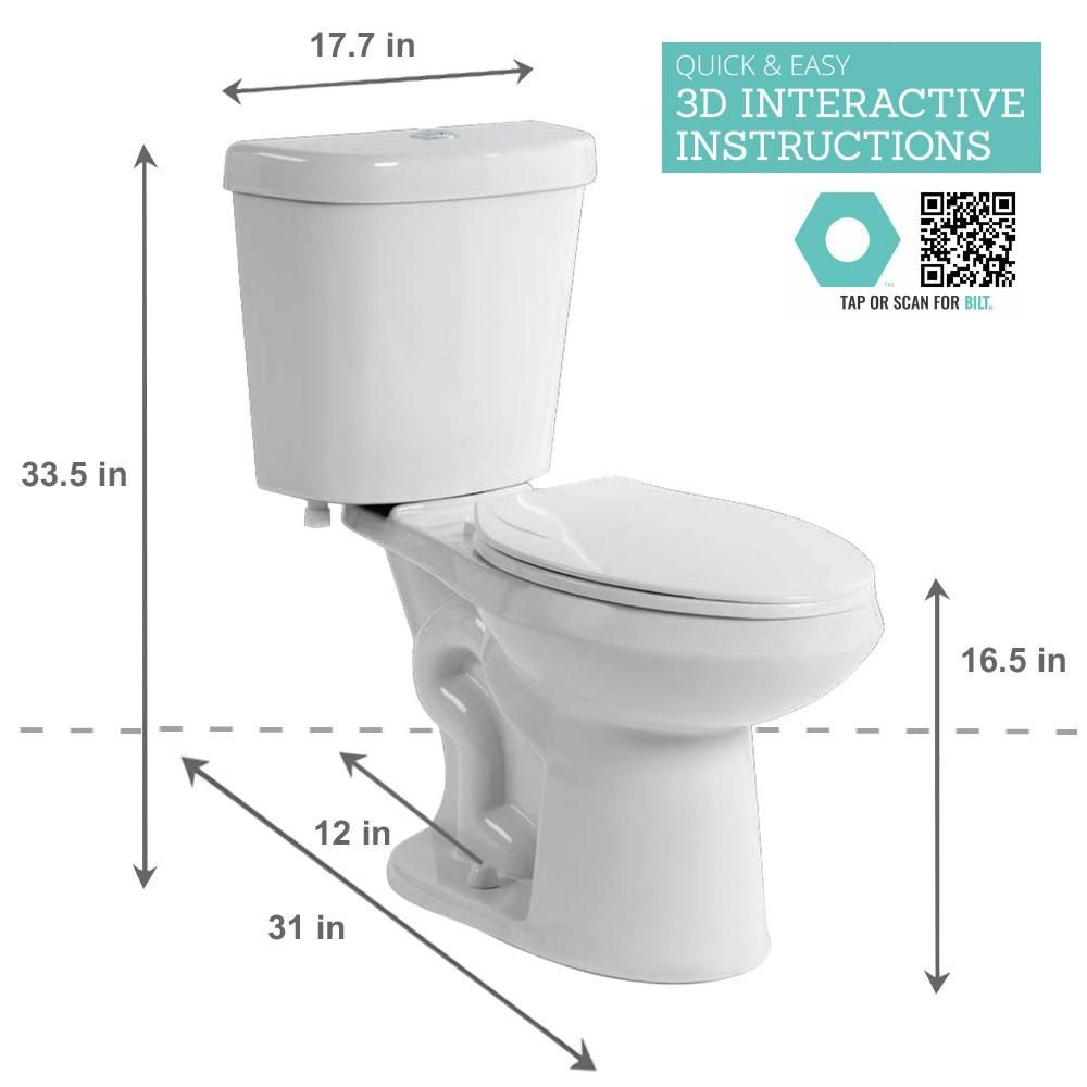 Glacier Bay 2 Piece 1 Gpf 6 High Efficiency Dual Flush Complete Elongated Toilet In White Seat Included N2316 The Home Depot Powder Room Decor