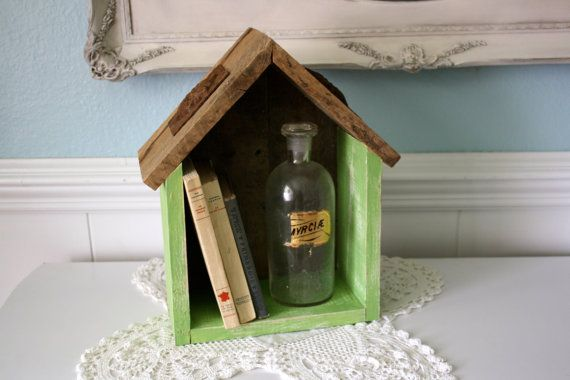 Rustic Pallet Wood House Shaped Display Shelf by funkiefinds, $39.95