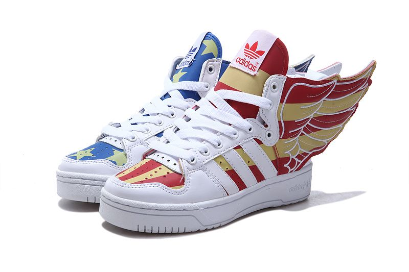 Adidas X Jeremy Scott Wings 2.0 USA Flag Shoes Glow In Dark