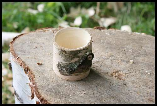 wooden cups from green wood