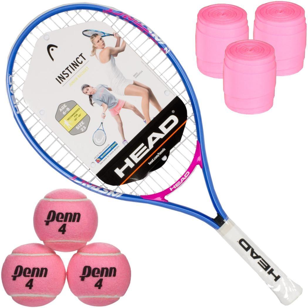 Head Instinct Junior Tennis Racquet 3 Pink Tennis Balls 3 Pink Overgrips 34 95 Tennis Racquet Tennis Tennis Balls
