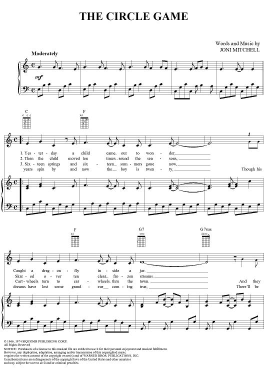 The Circle Game Music Sheet Music Sheet Music Book