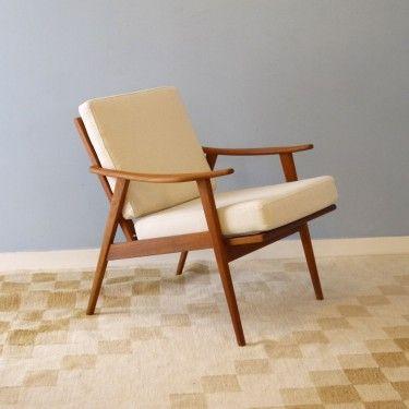 fauteuil scandinave vintage 1960 en teck - Fauteuil Scandinave Vintage
