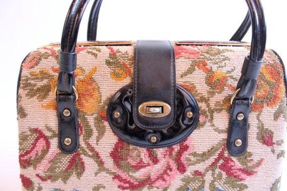 2c9bac2bf4b2 sale    sale    sale CAROLINE 60s Floral Structured Retro Tapestry Carpet  Bag