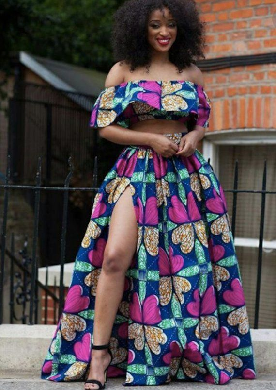 e31a562e8537ba African Print Maxi Skirt with High Slit and Flair Crop Top - Off Shoulder -  Ankara