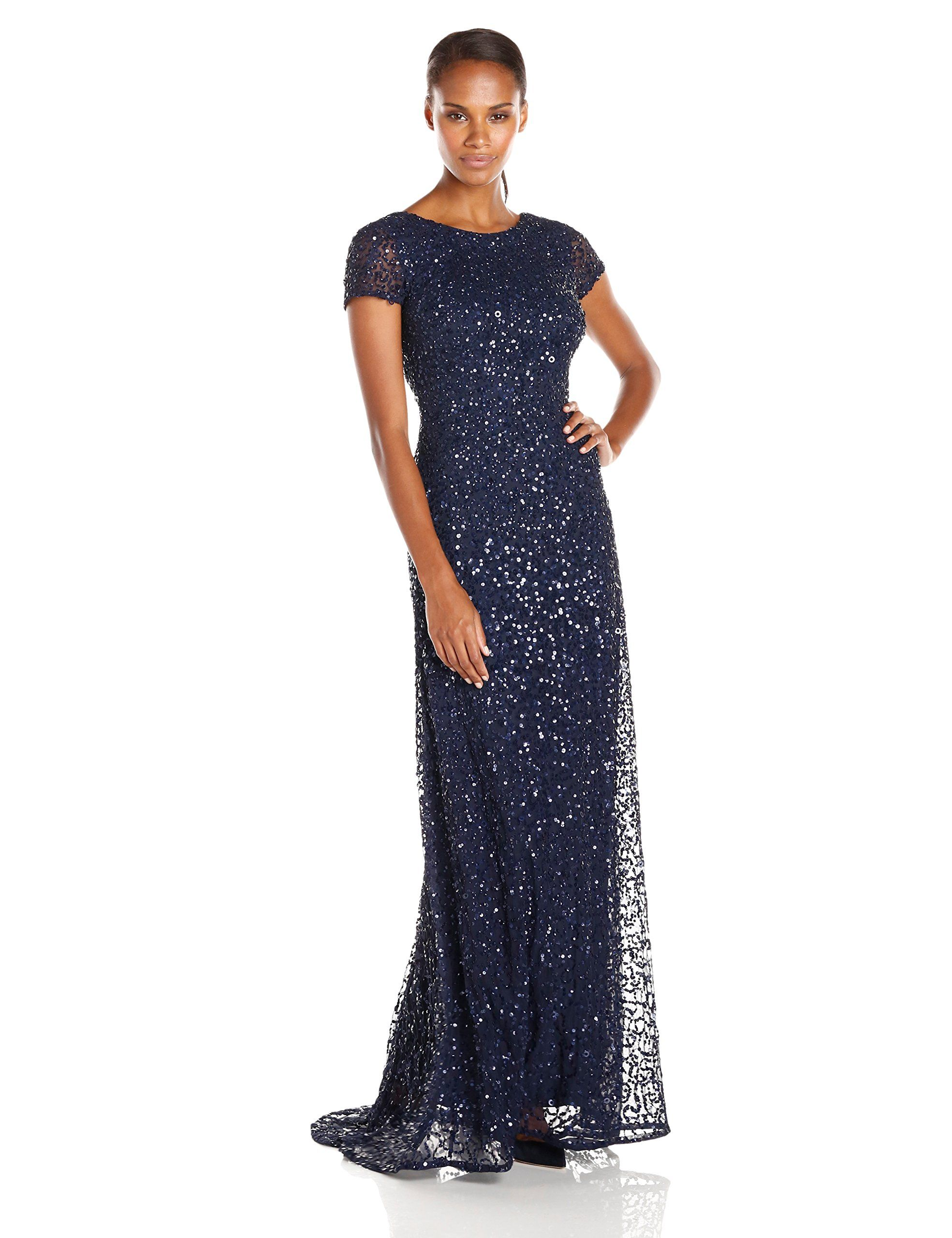 631fbd9022c Amazon.com  Adrianna Papell Women s Short Sleeve All Over Sequin Gown   Clothing