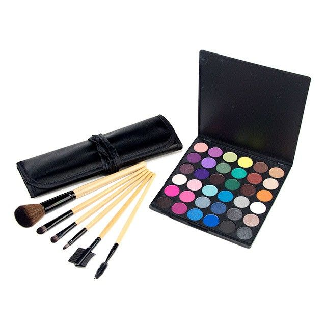 36-Color Smoky Eyeshadow Palette with Sable Brushes