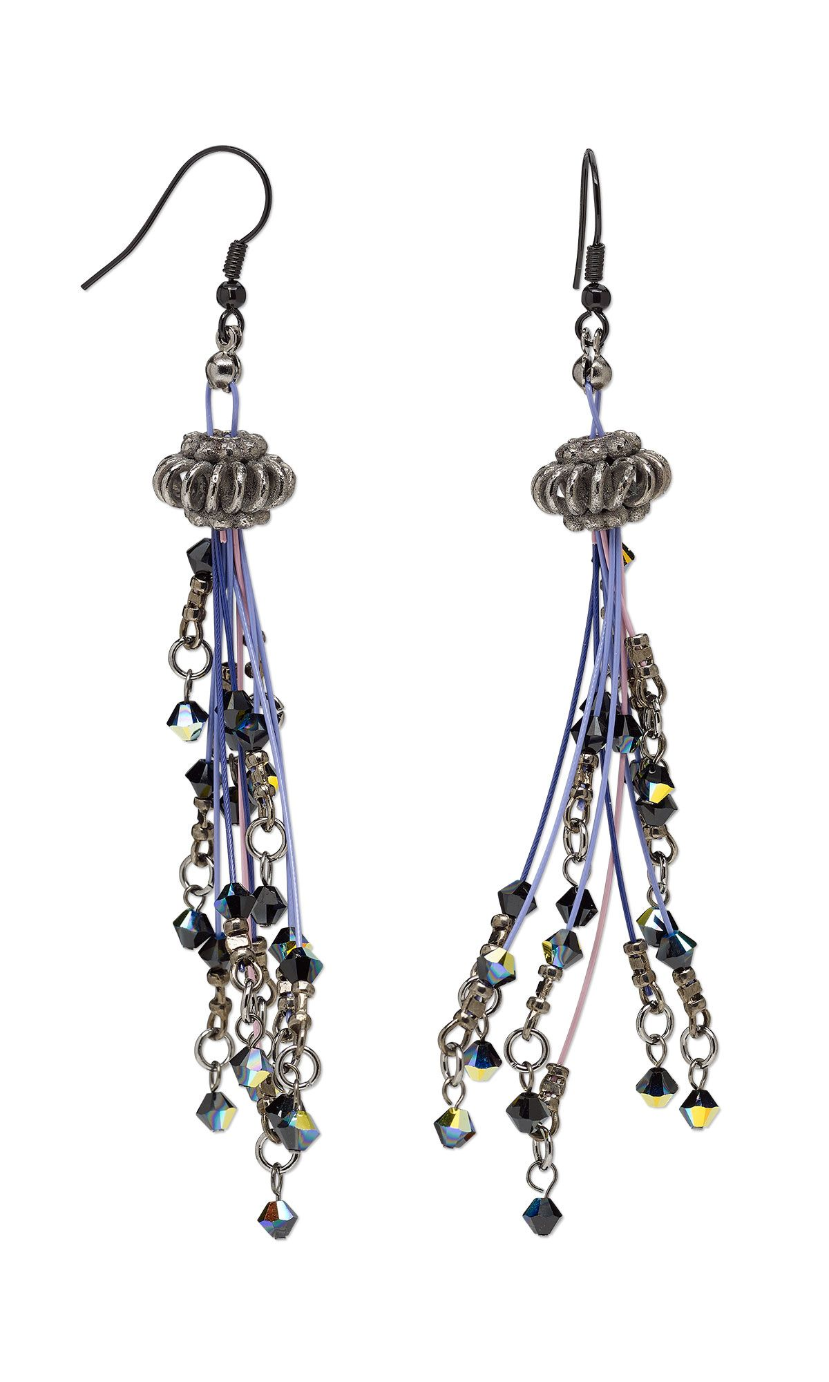 Jewelry Design - Earrings with Gunmetal-Plated Copper Beads ...