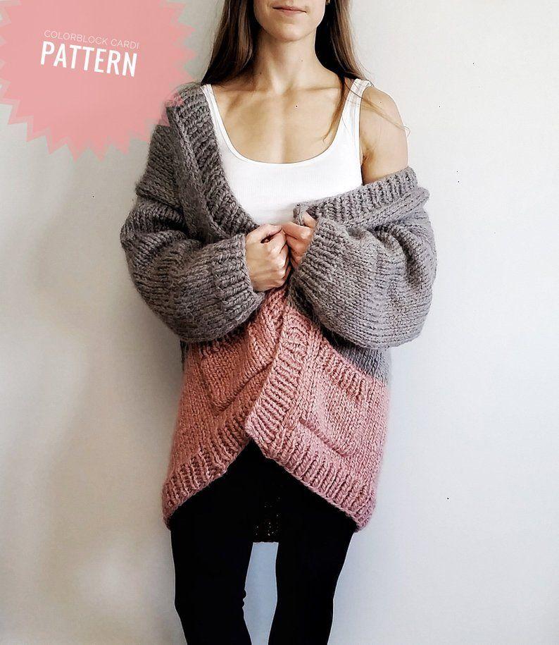 Colorblock Cardi / / Chunky Strickjacke / / Easy Knitting ...
