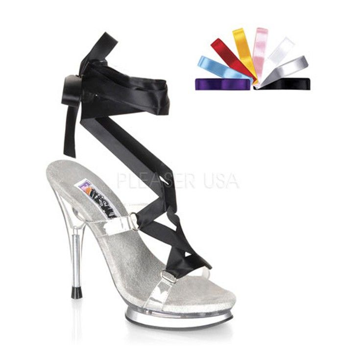 The features for these fairy heels include an interchangeable laced upper with an open toe, wrap around tie design, smooth lining, and cushioned footbed. Approximately 5 1/4 inch heels and 1 inch platform.