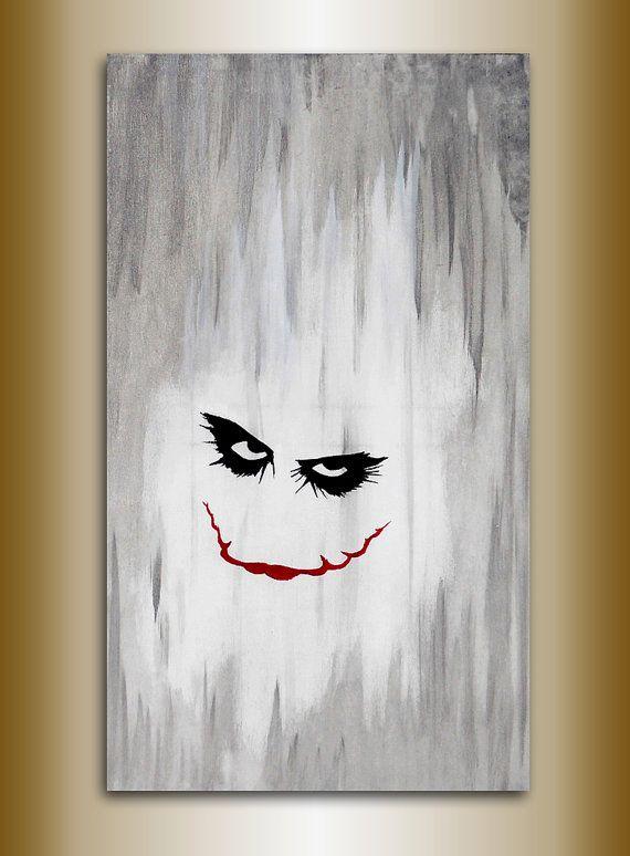 joker painting original acrylic on canvas acrilico su tela pezzo unico 70 x 40 batman