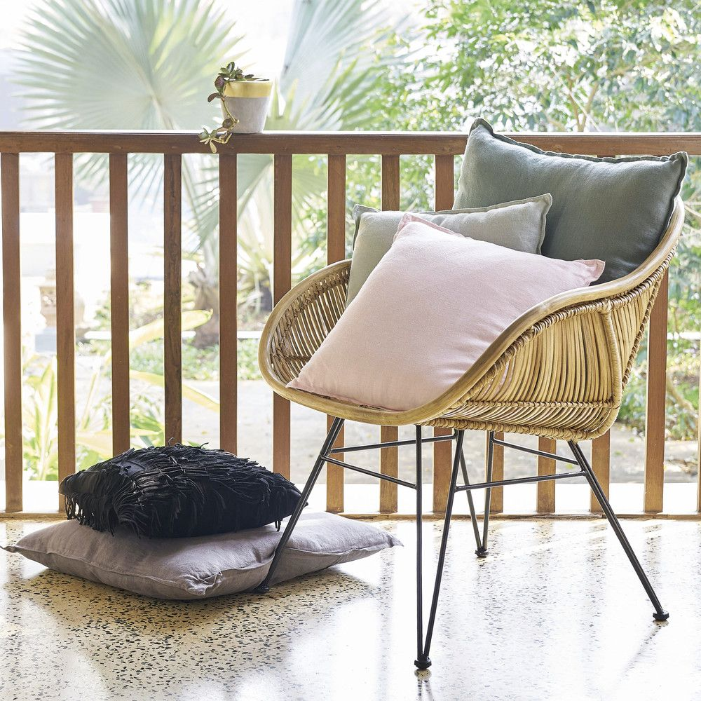 Metal boho chic style chair can be used inside or in the garden, immaculate condition. Rotan Stoel Met Zwarte Metalen Poten Maisons Du Monde Rattan Armchair Trending Decor Affordable Furniture