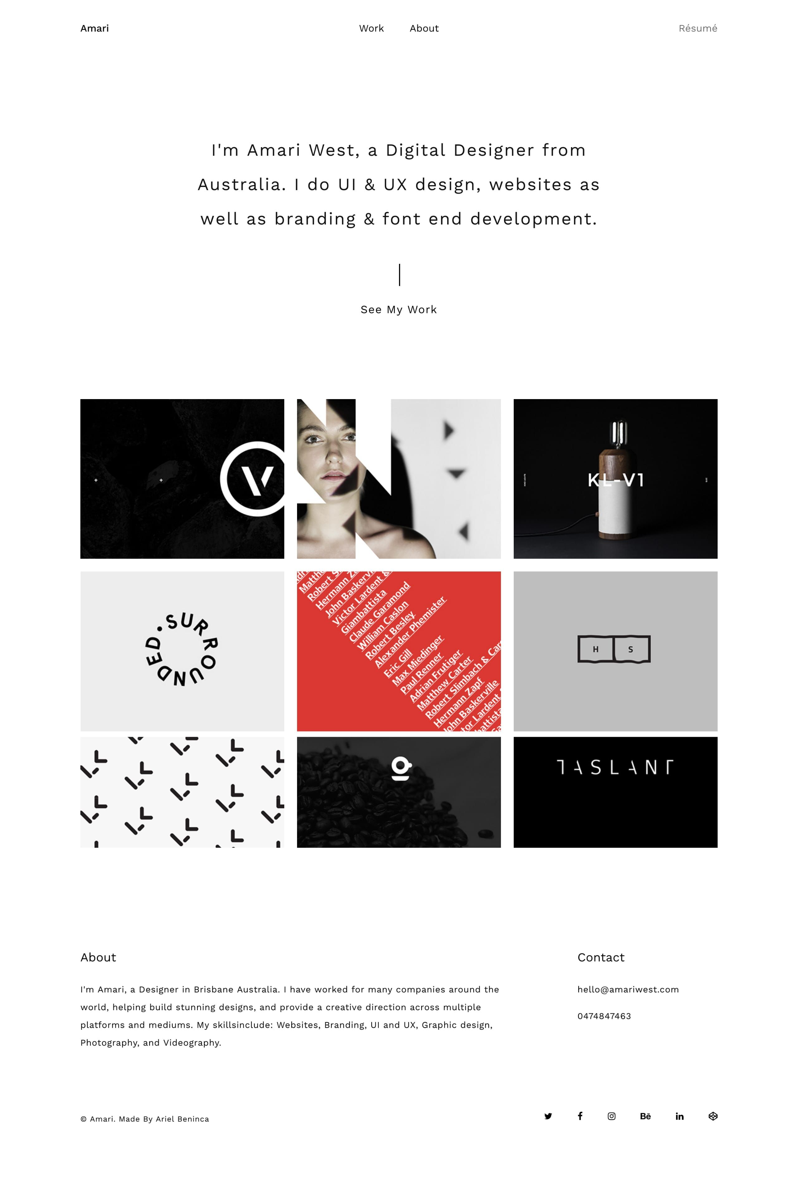 'Amari' is a clean One Page portfolio template that