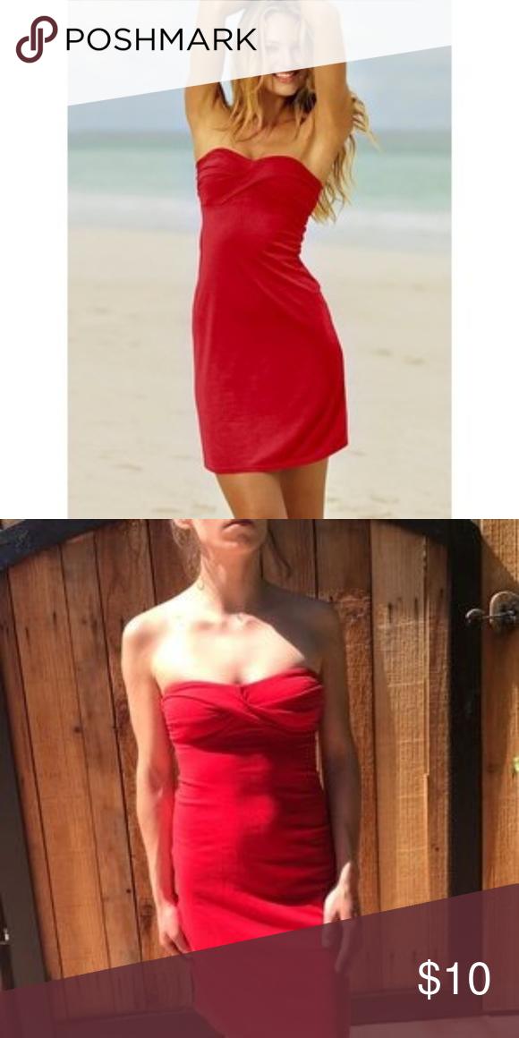 26aafe238b Victoria's secret red strapless bra top dress Red sexy strapless dress with  shelf bra top.