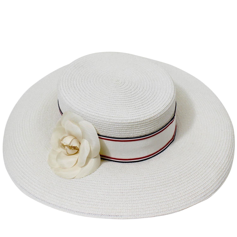 41b0bdde9d5 Vintage Chanel White Hat w  Camellia Flower and Ribbon Trim