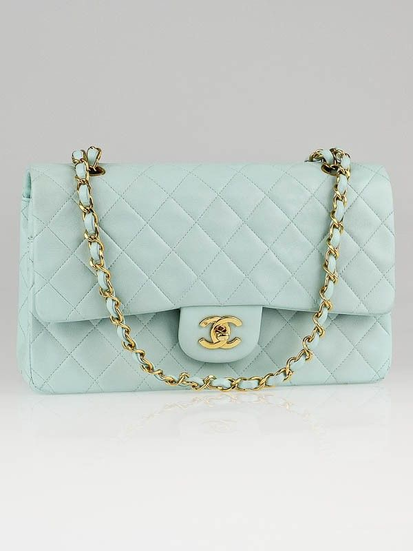 Chanel Mint Green Quilted Lambskin Leather Medium Classic Double Flap Bag Chanel Bag Gucci Handbags Crossbody Mint Green Bags