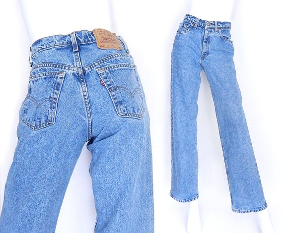 "Size 2/3 Levi's 565 High Waisted Wide Leg Jeans - Vintage 90s Women's Stonewashed Blue Denim Loose Fit Grunge Mom Jeans - 27"" Waist"