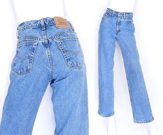 "Size 2/3 Levi's 565 High Waisted Wide Leg Jeans - Vintage 90s Women's Stonewashed Blue Denim Loose Fit Grunge Mom Jeans - 27"" Waist"