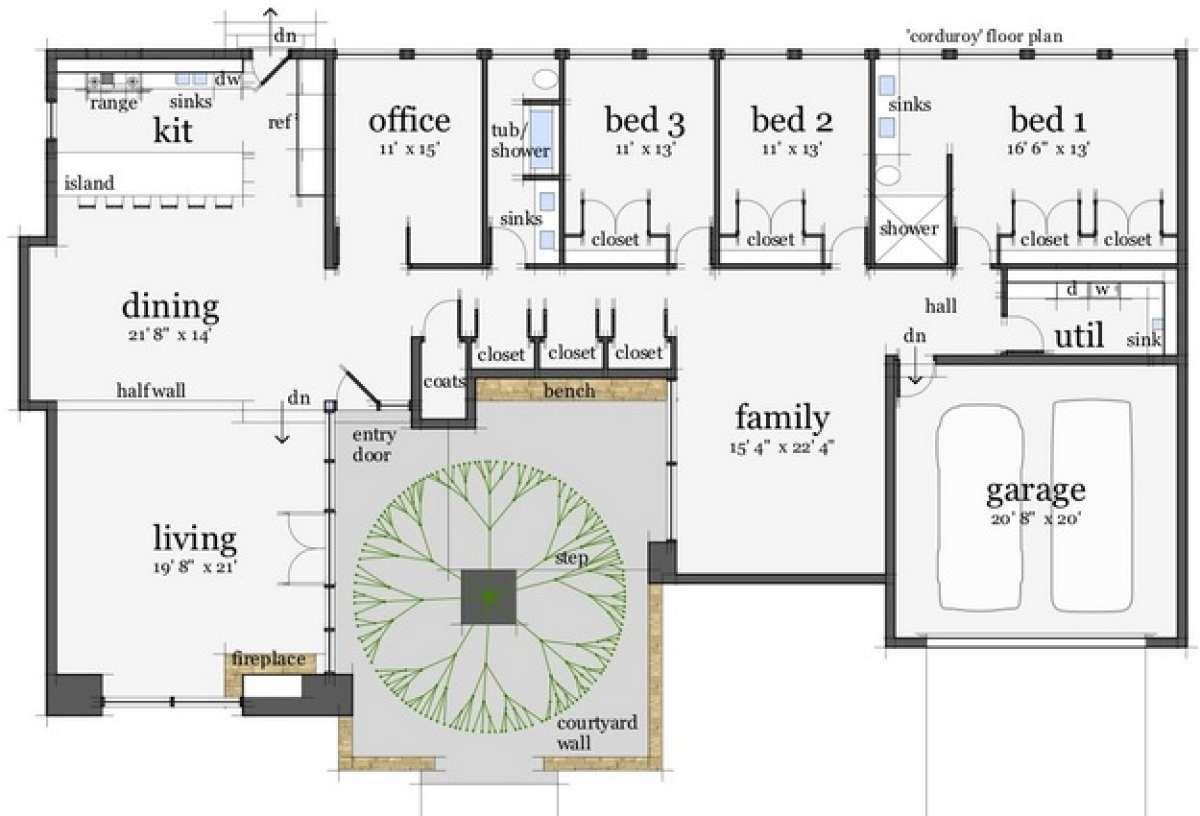 Mid Century Modern House Plan 028