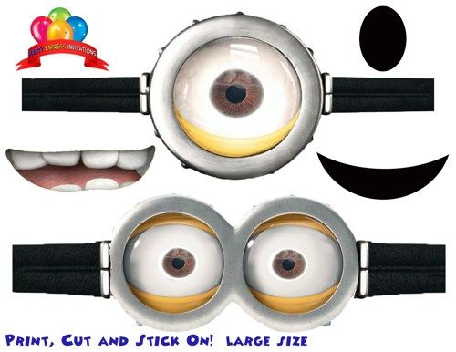 Goggles mouths free printable despicable me 2 minion for Minion mask template
