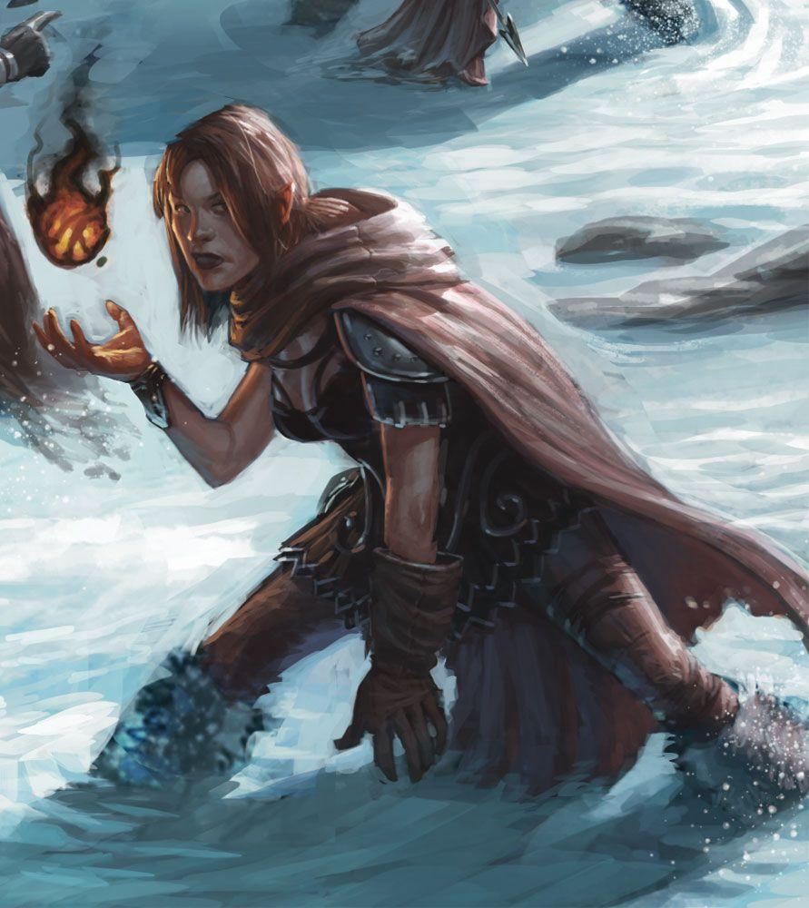 ffa8900a Female Alchemist, magic user, wizard, sorcerer, Mage casting fire in snow