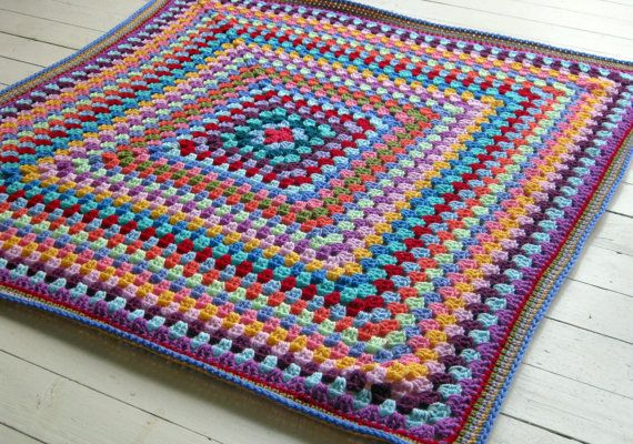 Timeless Cosy Crochet Vintage Style Granny Square Blanket Afghan ...