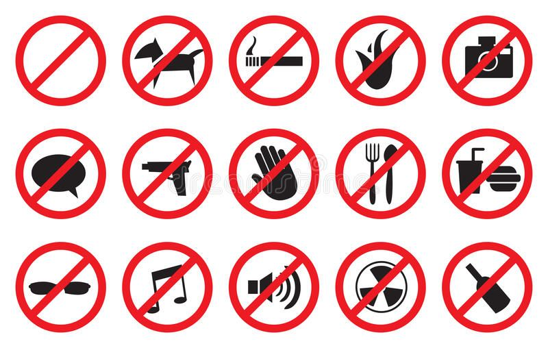 Symbols For Prohibited Activities