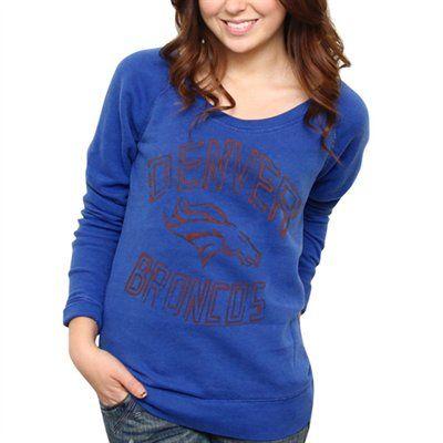 size 40 88572 eeb23 Denver Broncos Ladies Classic Off-The-Shoulder Sweatshirt ...