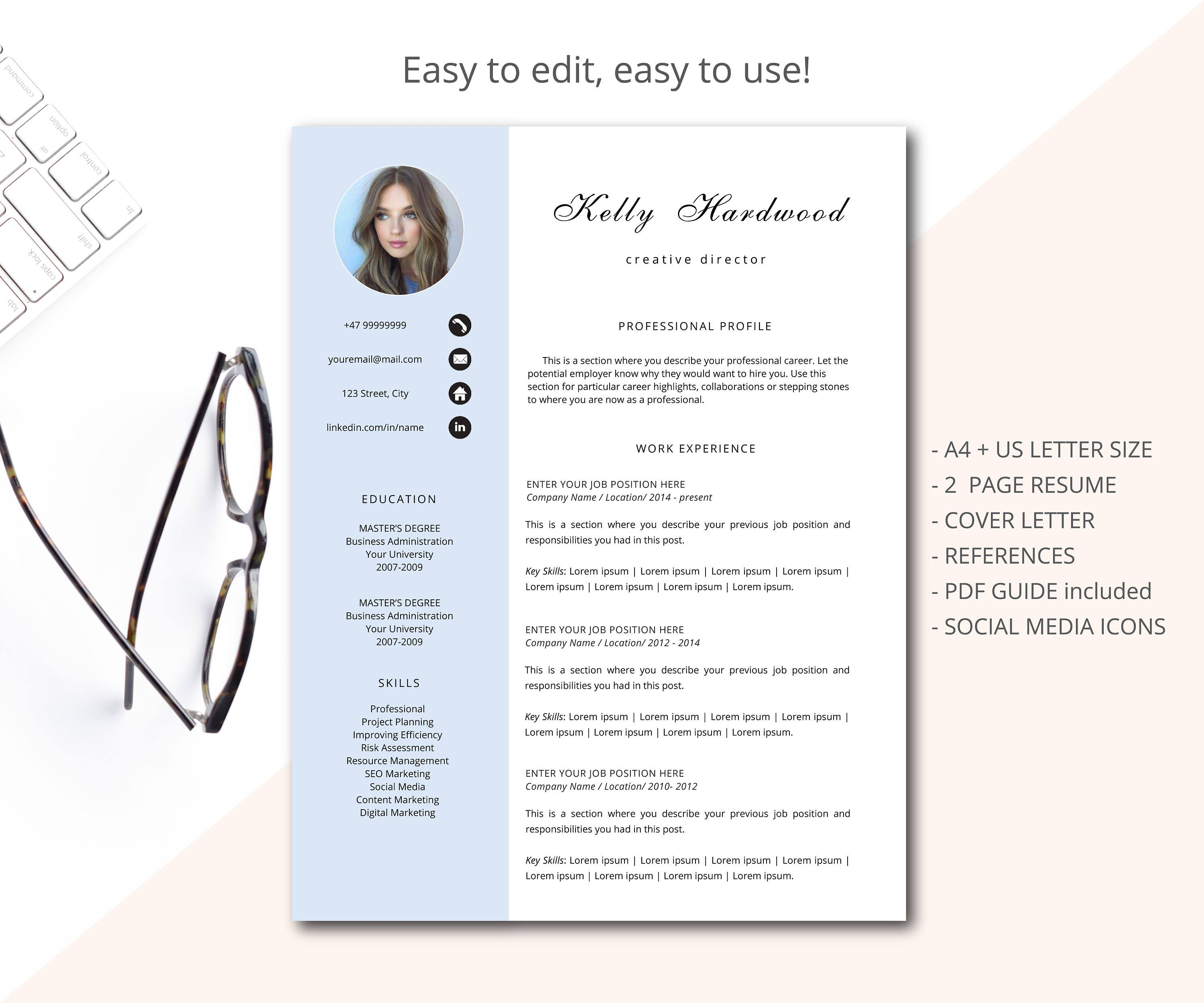 Resume template, CV template, Professional resume template ...