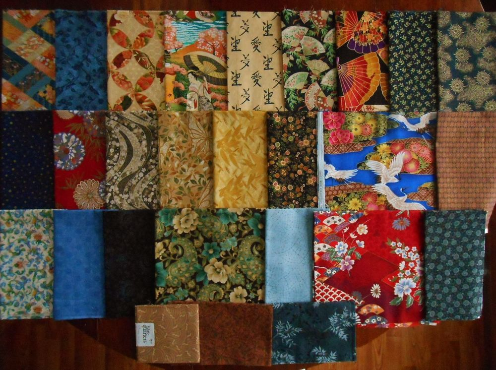 Asian Quarter / FQ 1/2 Yrd Bulk Lot 30 Quilt Fabric Scrap Oriental Japanese  | eBay