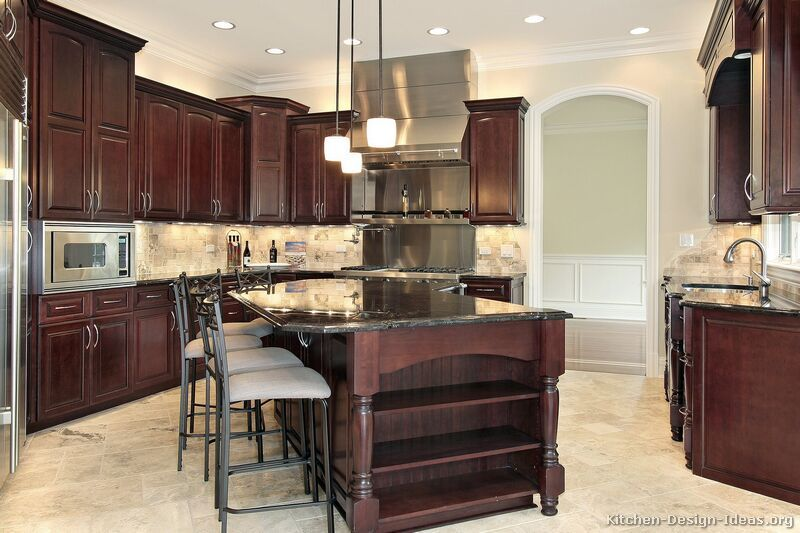 black cherry kitchen cabinets.  Kitchen Cabinets Traditional Dark Wood Cherry Color Island Luxuryjpg Kitchens Page Best Free Home Design cabinets light floor tiles used in a smaller size for