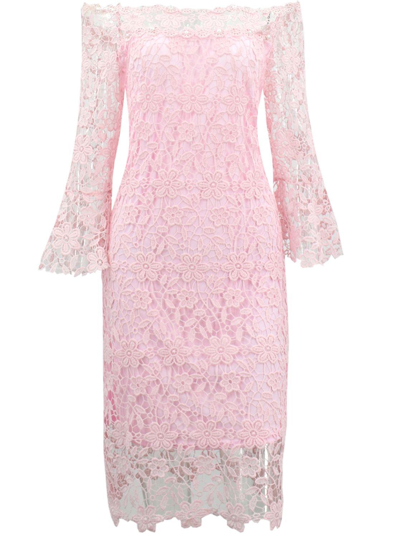 Elegant slash neck floral lace bodycon dress oasap floral