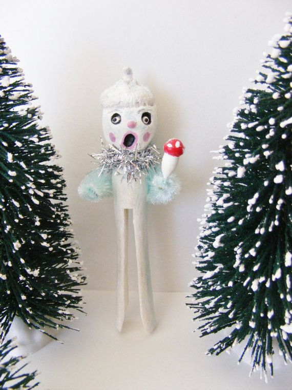 Frozen Folk Art Acorn Clothes Pin Winter by seasonsart1031 on Etsy