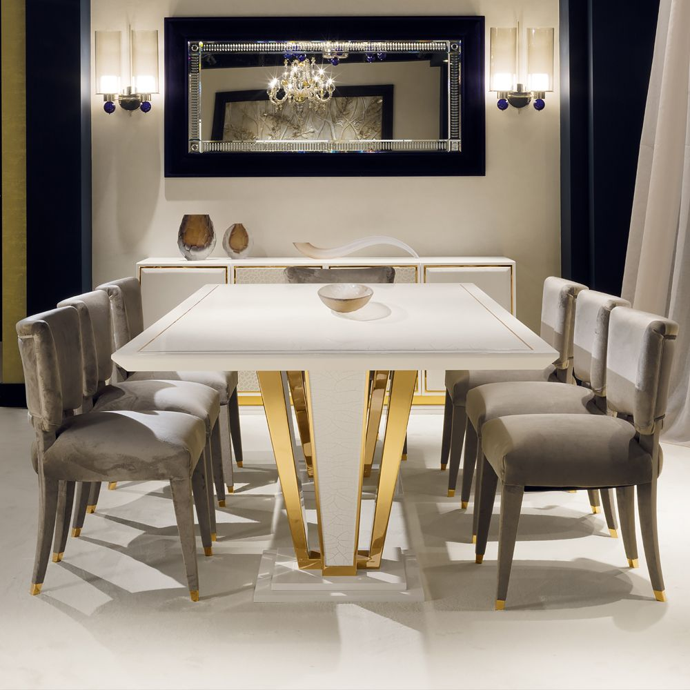 Exclusive Contemporary Gold Plated Ivory Dining Table Set Luxury