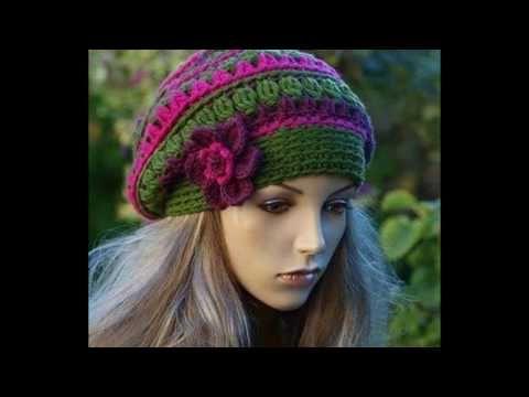 Elegantes gorros tejidos a crochet - YouTube | charo | Pinterest