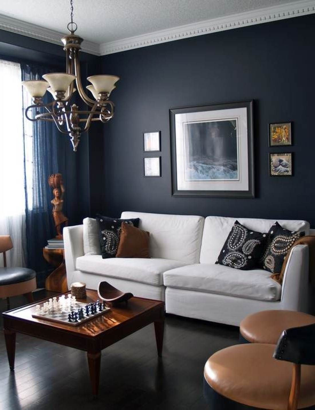 Cool Small Living Room Paint Idea With Black Wall Color And Dark Wooden Floor And White