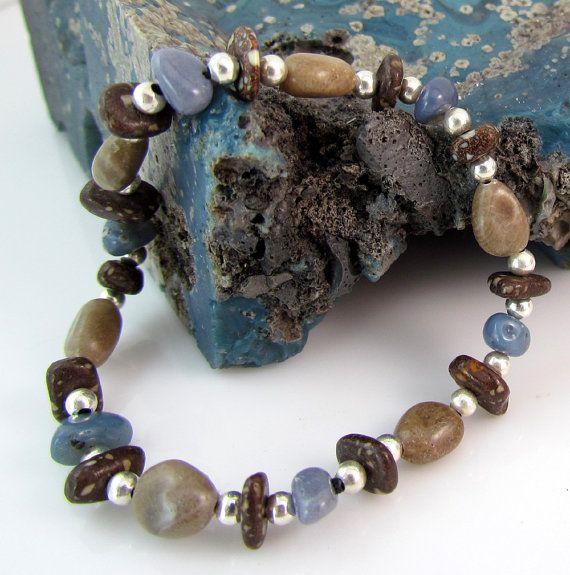 Michigan Petoskey stone Leland bluestone and copper firebrick bracelet by rwilberg