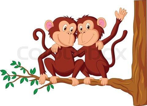 Stock Vector Of Vector Illustration Of Two Monkeys Cartoon Sitting On A Tree Cartoon Monkey Drawing Monkey Cartoon Cartoon Monkey