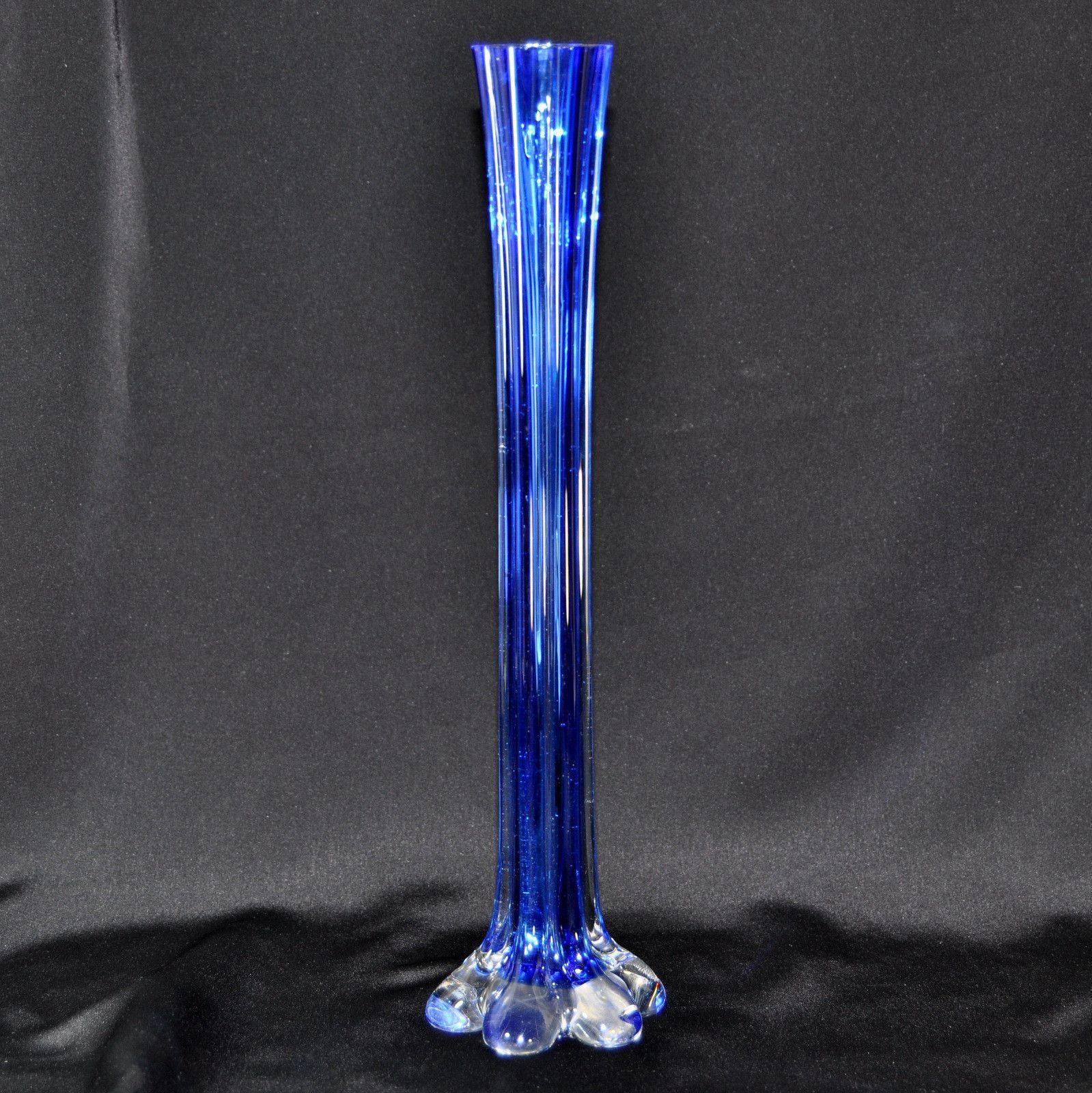 Bud Vase Vintage Tall Cobalt Blue Hand Blown Art Glass Ebay