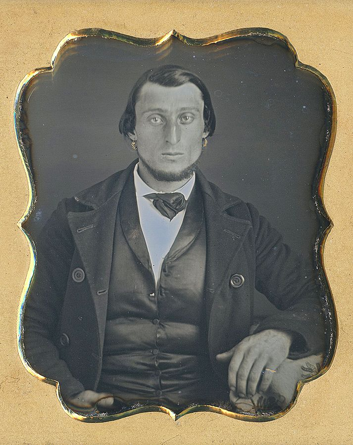 Unknown man with two gold earrings and gold pinky ring. Dennis A. Waters Fine Daguerreotypes