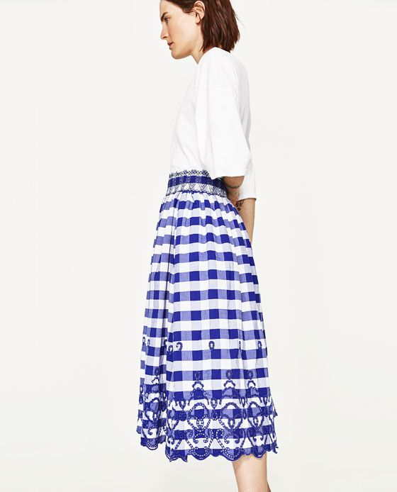 Image 4 Of Gingham Check Midi Skirt From Zara Skirts Midi Skirt Gingham Check