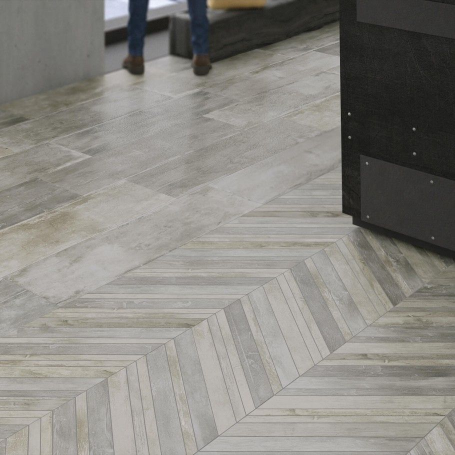 greige 9x18 porcelain wood look tile