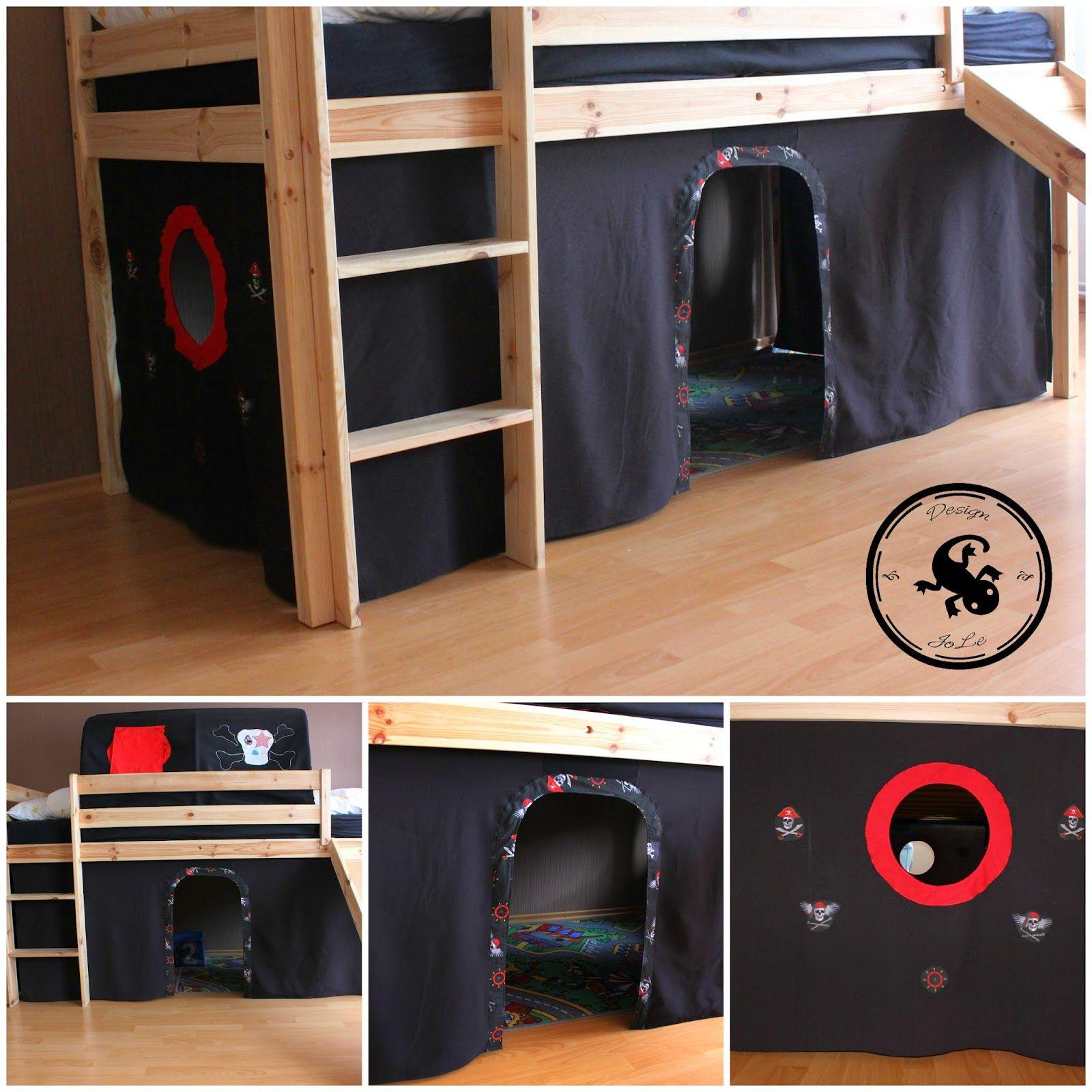 verkleidung aus stoff f rs hochbett kinderzimmer m. Black Bedroom Furniture Sets. Home Design Ideas