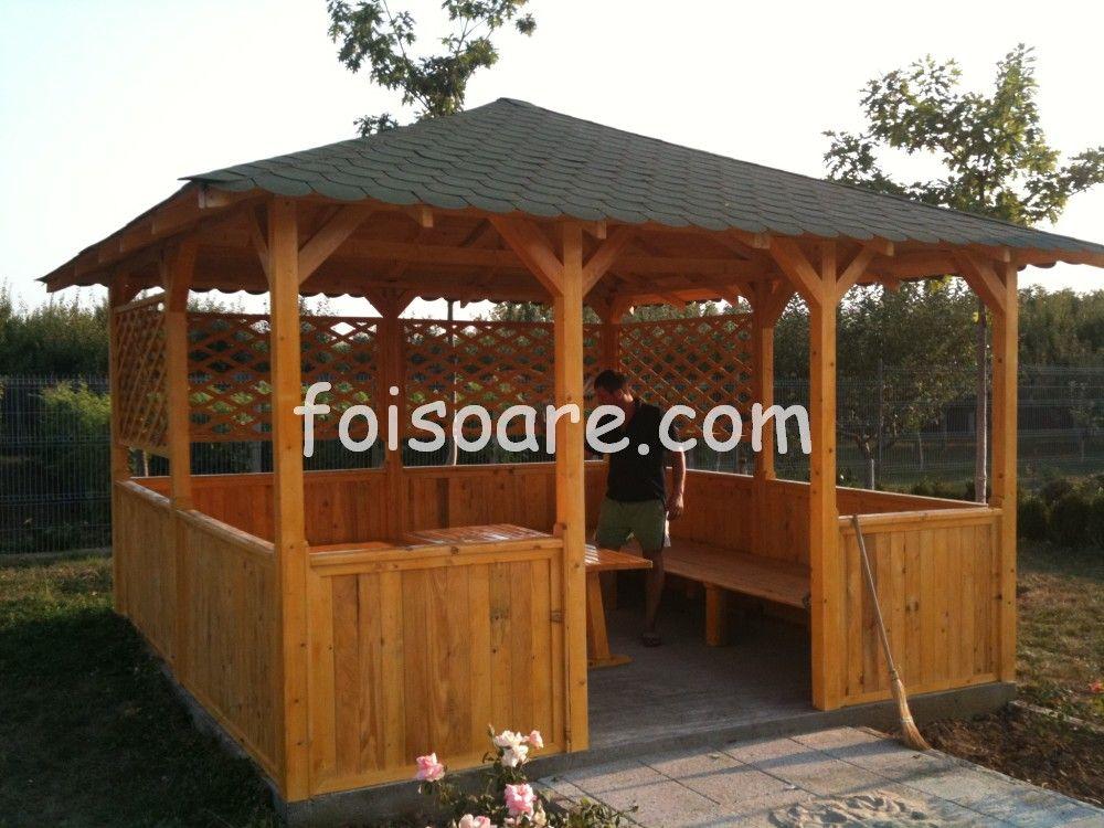 Foisor de gradina asiatic cu canapele din lemn foisoare for Modele de balcon din lemn